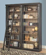 Toulouse Black 2 Piece Office Bookcase Set Or Library Bookcase Wall With Ladder