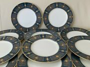 Royal Worcester 1920's English Porcelain 11 Blue And Gold Encrusted Dinner Plates