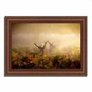 37 X 52 Two Stags At Dawn Framed Photograph Print