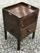 Antique English Georgian Mahogany Tambour Front Bedside Stand Or Lamp Table 1820