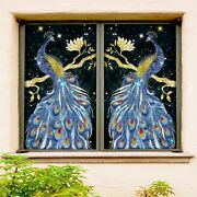 3d Peacock 1943nao Window Film Print Sticker Cling Stained Glass Uv Block Fa