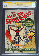 Amazing Spider-man 1 Cgc 6.5 Ss Stan Lee Signed Golden Record Reprint Grr Ow/wt