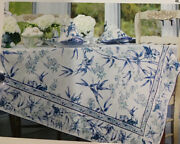 April Cornell Bamboo Garden 1pc 60 X 120 Oblong Tablecloth Blue,white,green Nwt