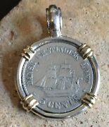 Authentic Danish West Indies Coin Pendant Sailing Ship Set Sterling Silver/14k