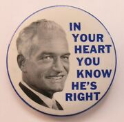 1964 Goldwater In Your Heart You Know Portrait 3.5 Pinback Button President Z