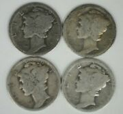 1917-p, 1917-s, 1919-p, And 1919-s Mercury Dimes - Free Shipping  Ac-1385