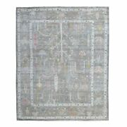 8and039x9and0397 Hand Knotted Gray Angora Oushak With Tree Design Pure Wool Rug G55494