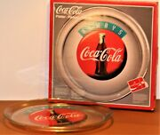 Coca Cola Vintage 1995 Always Clear Glass Round 13 Serving Platter Tray New