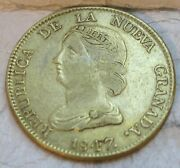 1847 Gold Colombia 16 Pesos Diez I Seis Coin Bogota Mint