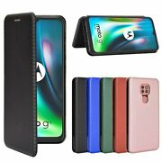Cell Phones Case Carbon Fiber Flip Leather Card Slot Anti-fall Protection Cover