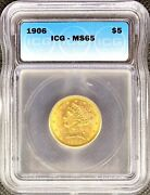 1906 5 • American Half Gold Eagle Liberty Head • Ms-65 • Lustrous Mint Coin