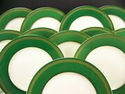 12 Lenox Green Gold Dinner Plates Made For Marshall Field And Company Chicago