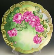 Beautiful Limoges Hand Painted Roses Charger 12-5/8 Artist Roby