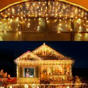 Led Icicle Lights Outdoor Christmas Decorations 400led 8 Warm White