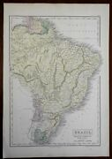 Empire Of Brazil Paraguay Uruguay Guyana Suriname 1856 A And C Black Engraved Map