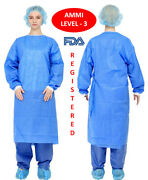 100-pack Blue Medical Isolation Gowns Fda Registered Level 3 Pp And Pe - Medium