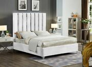 Contemporary Bedroom Furniture White Velvet 1piece Twin Size Bed Channel Design