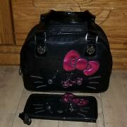 Hello Kitty Sequins Black Bag And Wallet