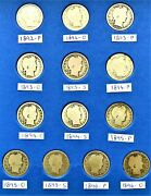 13 Coins From Page 1 Of 1892-1905 Barber Quarter Folder