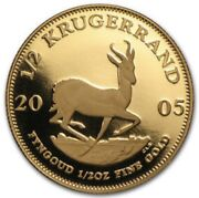 2005 South Africa 1/2 Oz Krugerrand Gold Proof • Brilliant Uncirculated Coin
