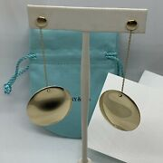 And Co Elsa Peretti 18k Yellow Gold Round Dangle Disc Long Chain Earrings