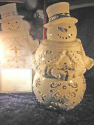 Lenox Florentine And Pearlized Snowman Cookie Jar 24k Gold Accents 2297/5000 Mib