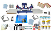 4 Color 2 Station Silk Screen Press Printing Machine And Materials Kit With Ink