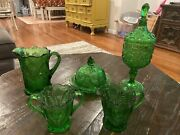 Vintage Green Depression Glass Opalescent Butter/cheese Dish Sugar Pitcher Set