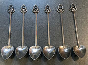 Set Of 6 Art Nouveau / Arts And Crafts Hammered Silver Spoons Maker Marked Db