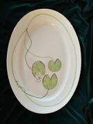Hermes Porcelain Nile Large Oval Plate Green Lotus Ornament Auth Mint Rare