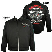 Lucky 13 Jacket Lined Work Mechanic Embroidered Racing Death Large