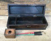 Antique Old Wood Hand Brass Work Beautiful Pen Box With Ink Pot And Pens