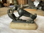 17th C Ancient Black Stone Fine Rare Dog Love With Parrot English Sculpture
