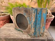 1850's Antique Wood Hand Crafted Blue Painted Wall Hanging Alarm Clock Case Box