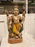 1700and039s Ancient Old Wooden Hand Carved Painted Hindu God Vishnu Figurine Rare
