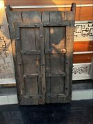 Ancient Wood Hand Crafted Iron Work Old House Castle 43 X 25'' Door Panel