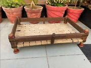 Antique Old Wooden Brass Iron Work Handcrafted Cradle Palna Swing Baby Bed
