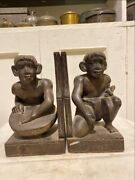 Ancient Old Wooden Hand Carved African Tribal Woman Rare Figurine Book Stand