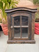 1800and039s Antique Wood Carved Glass Fitted Kitchen Bathroom Utilized Cabinet Box