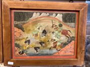 Antique Indian Islamic Mughal King Hunting Miniature Gold Hand Painting Framed