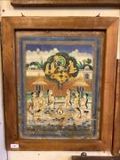 Antique Indian Hindu God Krishna And Gopees Miniature Gold Hand Painting Framed