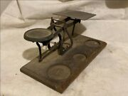 Vintage Brass Gold / Gem Balance Scale With Hand Crafted Wood Base Rare Old