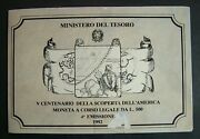 1992 Italy 500 Livres Silver Off Delland039america In The Blister Original