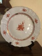 13 Genuine Herend Dinner Plates. Chinese Bouquet Rust. 85.00 Each. Rarely Used.