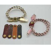 10x Leather Usb Cord Organizer Data Charging Cable Keeper Wrapper W/ Snap Button