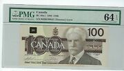 100 Bank Of Canada 1988 Bc-60a-i Prefixed Bjh Pmg 64 Epq Changeover Tough Note