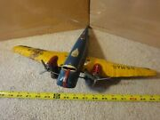 Vintage Marx Steel, Tin Toy Us Mail 990-5 Airmail, Wind Up Prop Airplane Model.