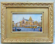 Budapest, Central Market, Tram Old Car Clothe Oil Painting Hungary By J. Herczeg