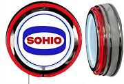 Sohio Gas N Oil Logo Sign Neon Sign Red Outside Neon Chrome Shell No Clock