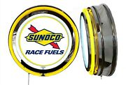 Sunoco Race Fuels Sign Neon Sign Yellow Outside Neon Chrome Shell No Clock
